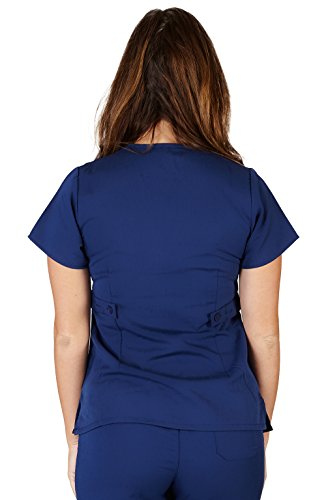 Ultra Soft Brand Scrubs - Premium Womens Junior Fit 3 Pocket Mock Wrap Scrub Top, Navy 36150-X-Small by ULTRASOFT SCRUBS (Image #1)