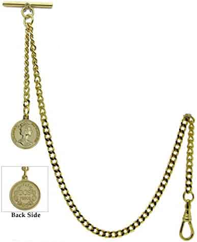 Gold Albert Chain Pocket Watch Curb Link Chain Fob T Bar + Swivel Clip + Queen Elizabeth II Coin Design Fob AC100