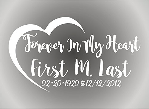 Bermuda Shorts Graphics Forever In My Heart/In Loving Memory/Vinyl Decal/Vehicle Decal/Memorabilia (White)