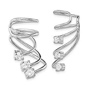 925 Sterling Silver Rhodium-plated CZ Cuff Earrings