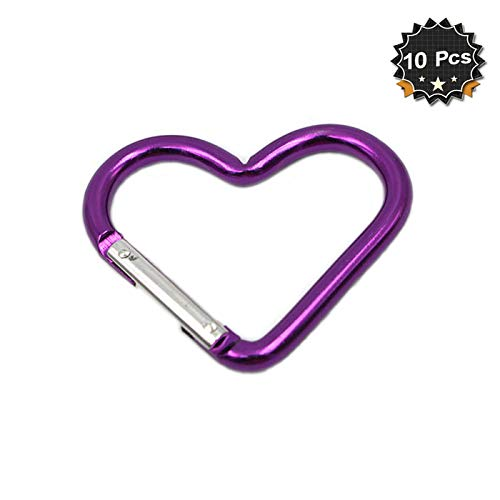 Mini Heart Shaped Aluminum Carabiner Buckle Pack Spring Snap Keychain Clip, Purple, Pack of 10