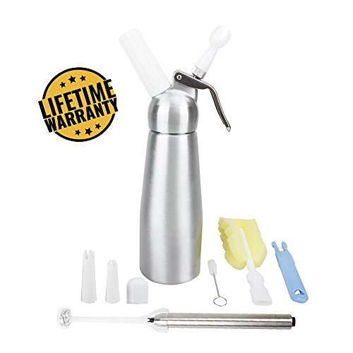 Professional Whipped Cream Dispenser with FREE Milk Frother. 1 Pint Capacity ALL ALUMINUM with LEAK PROOF LID and BONUS BOTTLE BRUSH. Make Gourmet Desserts and Coffees.