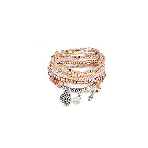 JSPOYOU Fashion Womens Multicolor Bohemia Multilayer Bracelet Lady Bracelet Bangle (E) - Open Strand Heart Bracelet