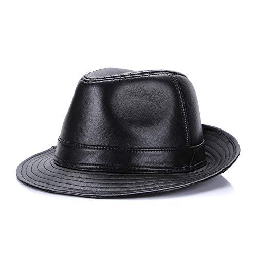 - Winter Genuine Leather Wide Brim Stetson Fedoras British Hats Fitted Jazz Hip-Pop Women Men Bright Black
