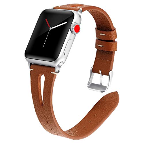 Kaome Leather Band Compatible for Apple Watch Band 44mm 42mm, Slim Elegant Strap, Women Replacement Bands for iWatch Series 4, Series 3, Fashionable Feminine Breathable Slit Design-Brown ()
