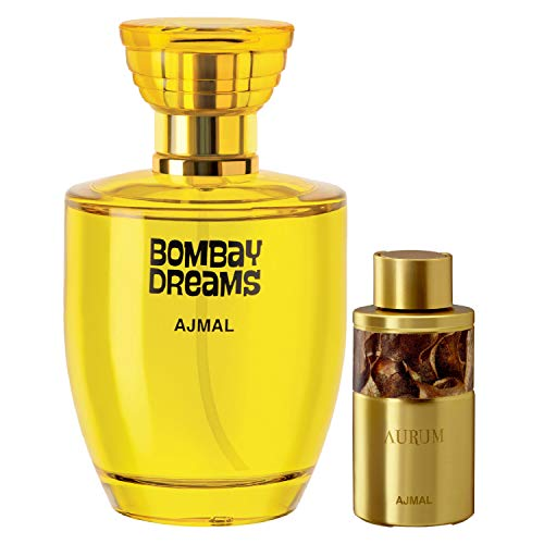 Ajmal Bombay Dreams EDP Floral Fruity Perfume 100ml for Women and Aurum Concentrated Perfume Oil Fruity Floral Alcohol-free Attar 10ml for Women + 2 Parfum Testers FREE