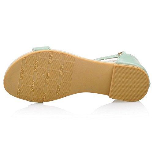 COOLCEPT Damen Mode-Event T-Strap Sandalen Open Toe Bohemia Shoes fur Maedchen Green