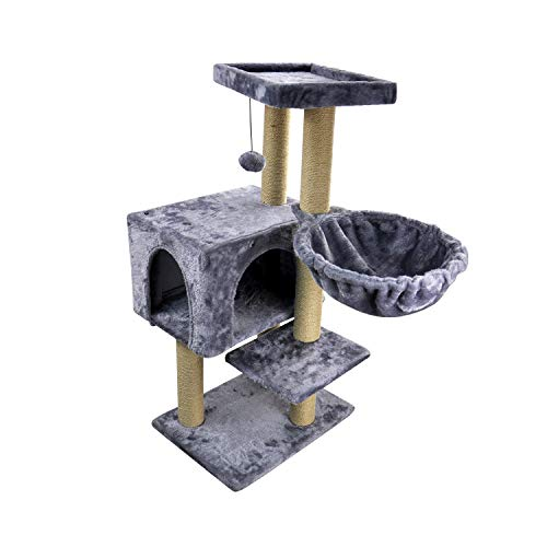 (WIKI 002G Cat Tree has Scratching Toy with a Ball Activity Centre Cat Tower Furniture Jute-Covered Scratching Posts Grey)