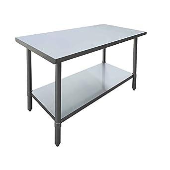 Hubert mesa de trabajo de acero inoxidable con parte superior ...