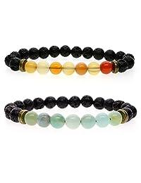 AmorWing 2 Packs Amazonite Agate Stones Lava Bracelet for Women