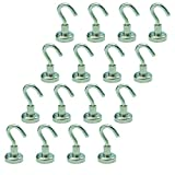 TOOHUI 16 Pack Heavy Duty Magnetic Hooks, 12LBS Super Strong Neodymium Magnet Hook for Home, Kitchen, Workplace, Office and Garage