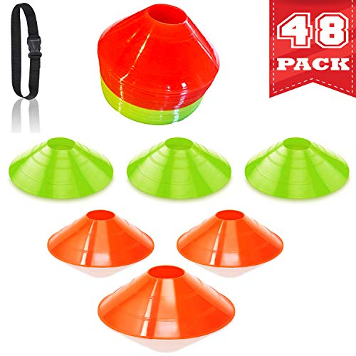 Agility Soccer Drills Cones 48-Pack - Sports Field Marker for Kids, Coaches, Athletes - Speed, Agility, Endurance Training for Football, Basketball - Orange & Yellow Disc Cone with Carrying Strap ()