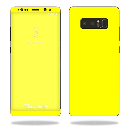 MightySkins Skin Compatible with Samsung Galaxy Note 8 - Solid Yellow   Protective, Durable, and Unique Vinyl Decal wrap Cover   Easy to Apply, Remove, and Change Styles   Made in The USA