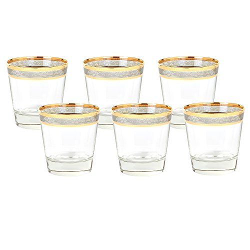 Lorren Home Trends 9434 Double Old Fashion Melania Collection Glass, Set of 6 Smoke
