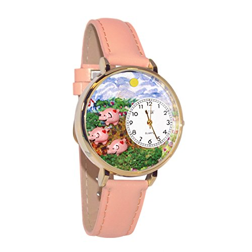 Whimsical Watches Unisex G0110003 Pigs Pink Leather Watch