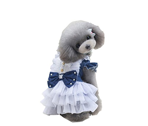 (S-Lifeeling Cute Dress Sweet Shirts Spring Summer Teddy Dog Clothes Pet Costumes Court)