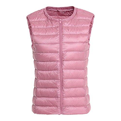 Petalum Gilet Jacket Manteau Blouson sans Manches Chic Mode Femme Casual Veste Col Haut Chaud Sport Swag Casual Doudoune Automne Hiver Rose