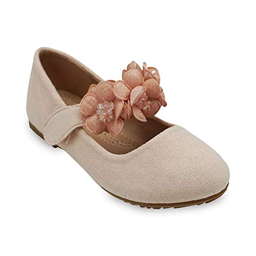 Girls Glitter Suede Mary Jane Ballerina Flat Shoes Princess Dress Shoes (Toddler/Little Kid/Big Kid) Pink 3 ()