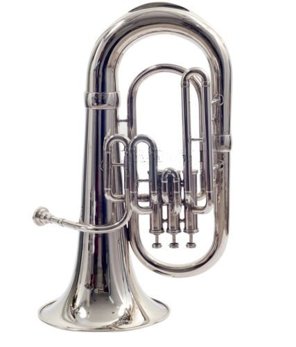 Queen Brass Euphonium Bb Valve Chrome Finish W Case Mp Silver by Queen Brass