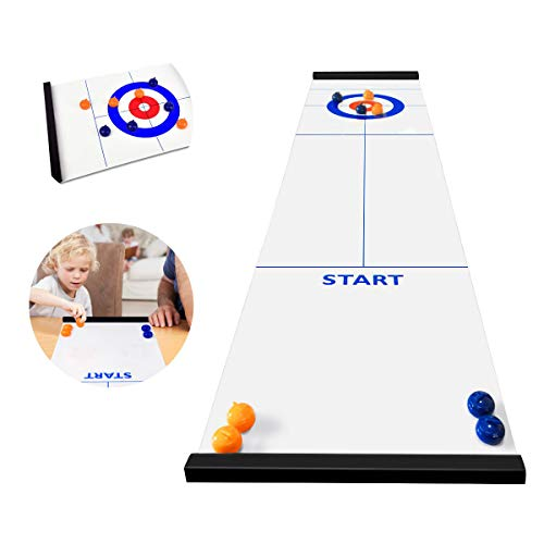 BicycleStore Table Top Curling Game for Family, Adults and Kids Team Board Game Training for Indoor or Travel Compact Storage from Bicycle