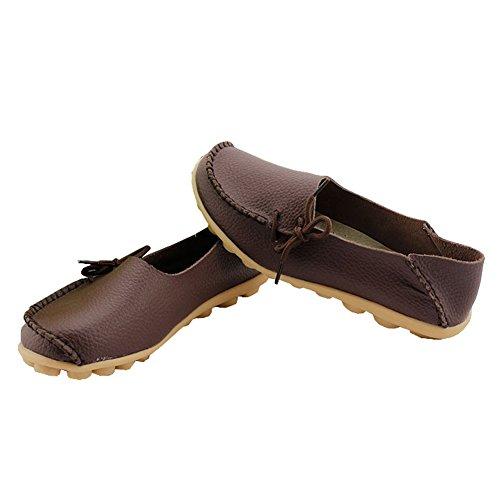 fisca Mujer Causal Cinturón Moccasins Mocasines Zapatos de Plano Marrón - café