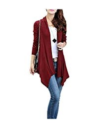 ARJOSA Women's Irregular Hem Elasticity Long Sleeve Open Front Cardigan Sweater Top