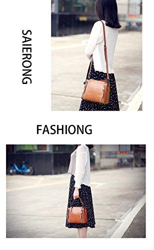Shoulder Designer SAIERLONG Handbags wine Olive Womens Red Leather Genuine Tote Ladies Green Bags 550qprwz