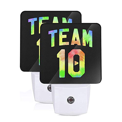 Black Team Lamps Logo Shade - Team 10 Logo LED Night Light Lamp Bed Lamp Set of 2 with Dusk to Dawn Sensor