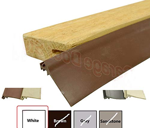 Thaisan7, Custom Garage Door Trim Seal - Wood Door Stop Insert, Length: 95' (Color: White)