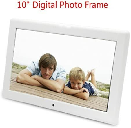 OUYAWEI Luxsure White 10 Inch Digital Photo Frame 1024x600 High Resolution Electronic Picture Frames for Home Office Decor Support MP3 Music MP4 Video Auto Play