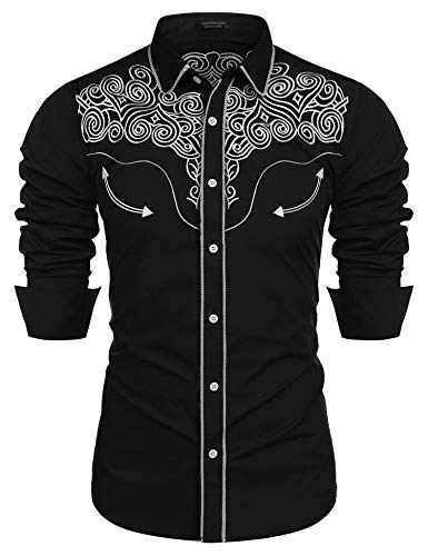 COOFANDY Men's Western Shirts Long Sleeve Slim Fit Embroideres Cowboy Casual Button Down Shirt Classic Black -