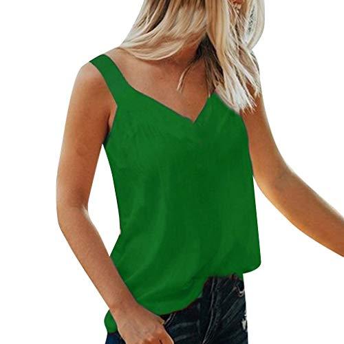 Cenglings Tank Tops,Women V-Neck Sleeveless Solid Camis Blouse Shirt Tops Spaghetti Strap Beach Vest Blouse Green ()