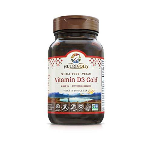 Nutrigold Whole-Food Vegan Vitamin D3 Gold 2500 IU (60 Liquid Veggie Capsules)