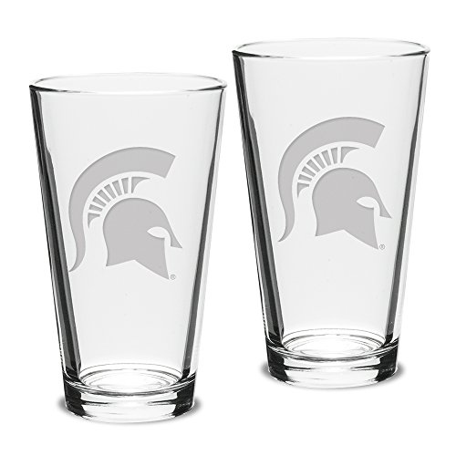 NCAA Michigan State Spartans Adult Set of 2 - 16 oz Pub Mixing Glasses Deep Etch Engraved, One Size, Clear