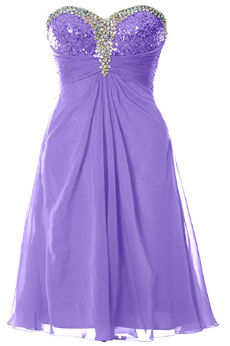 MACloth Women Strapless Sweetheart Crystal Short Prom Dress Formal Party Gown Lavanda