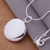 New Cute Unisex Sterling Silver Plated Round LOCKET Photo Charm Pendant Necklace LOVE STORY