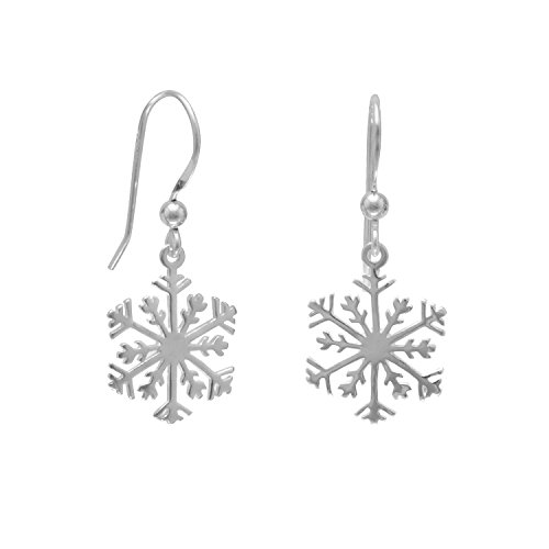 Snowflake Earrings - Sterling Silver Small Snowflake Earrings