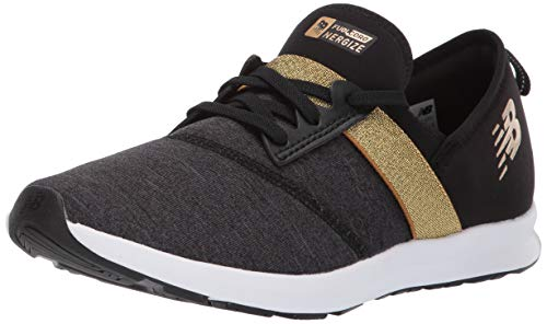 New Balance Girls' Nergize V1 FuelCore Sneaker Black/Classic Gold 3 M US -