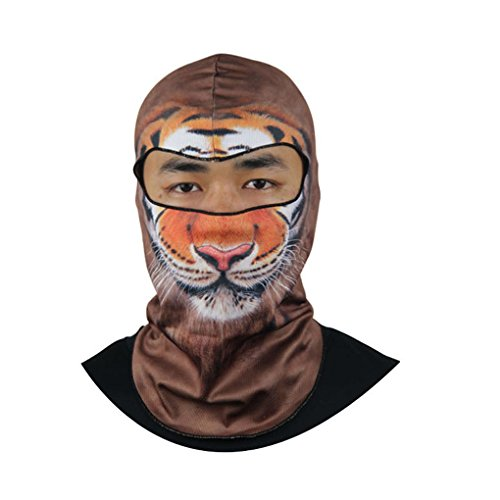 Scuba Costume Halloween (Lovely Animal Print Thin Soft Full 3D Anti UV Face Mask Headgear Balaclava Helmet for Motorcycle Bike Cycling Skiing Fishing Climbing Hiking Hunting or Beach Use,Ghost Cosplay Costume)