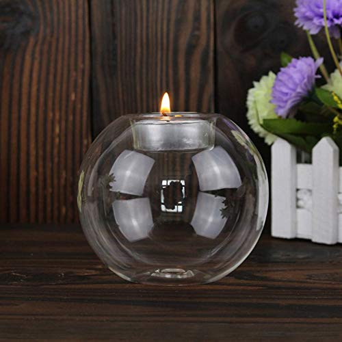 12CM Claro Redondo Hueco de Vidrio Resistente al Calor candelero Candelabro Claro 8CM SEN 8//10