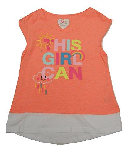 08f9d3304 365 Kids from Garanimals Girls Embroidered Graphic Twofer T-Shirt Peach  Size 6 Sleeveless Scoop