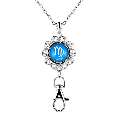 Mel Crouch Office Lanyard ID Badge Holder Necklaces Keychain with Horoscope Zodiac 12 Constellation Snap Button Charms (Virgo)