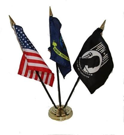"EGA Marine w// Navy Ship Flag 4/""x6/"" Desk Set Table Stick Black Base"