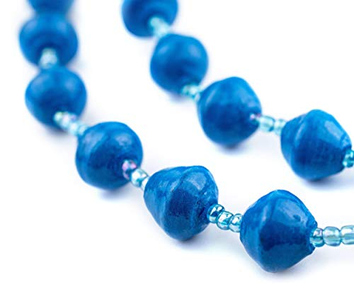 Recycled Paper Bead Necklace from Uganda - Fair Trade African Jewelry by The Bead Chest (Cobalt Blue)