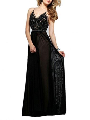 La_mia Braut Herrlich Spitze Chiffon Abendkleider Promkleider abschlussballkleider 2016 neuheit Bodenlang-36 Schwarz