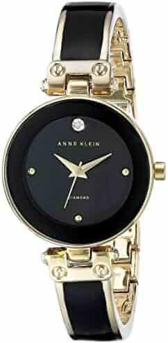 Anne Klein Women's AK/1980BKGB Diamond-Accented Dial Black and Gold-Tone Bangle Watch