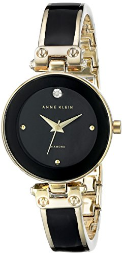 Anne Klein Women's AK/1980BKGB Diamond-Accented Dial Black and Gold-Tone Bangle Watch - Enamel Dial Watch