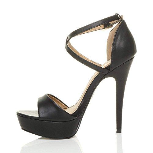 Cross High Matte Sandals Size Over Black Ajvani Heel Women qSxtZ