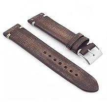 StrapsCo Faded Dark Brown Distressed Vintage Leather Watch Strap 18mm