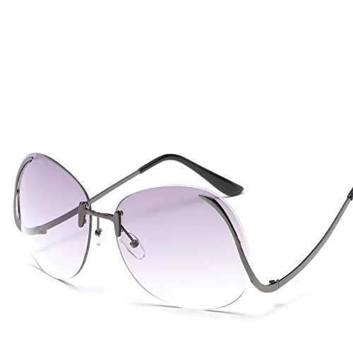 frame gray Marco gradually Fashion HD Sol Frameless 8 Lady The Color Retro Gafas gun de Uv400 UV Plateado LANZHI Blanco Protection qgUpRW